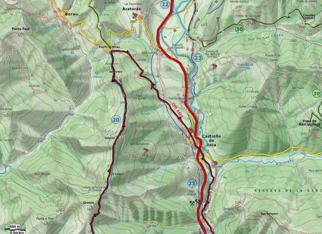 Mapa de detalle del sendero que baja hacia Castiello
