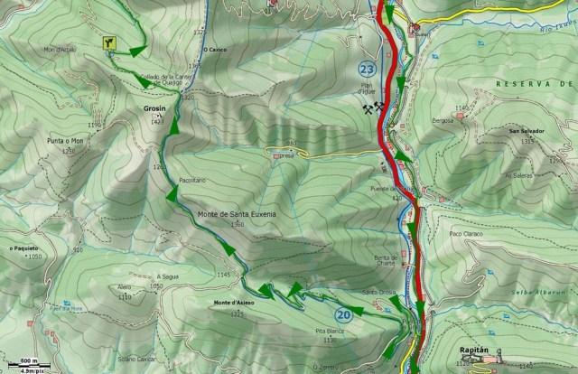 Mapa detalle subida Grosin y desvío aljibe