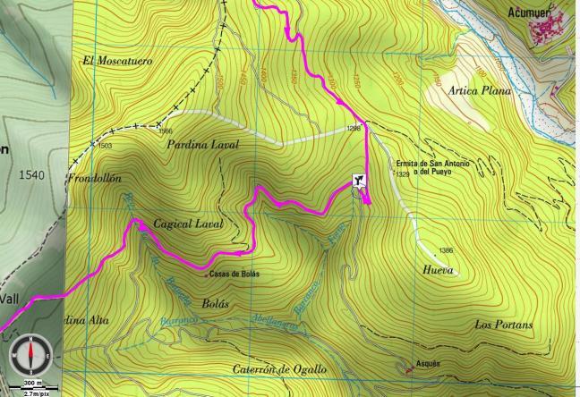 Mapa detalle: Desvío hacia la Sierra de la Contienda
