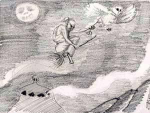 Dibujo de una bruja huyendo del