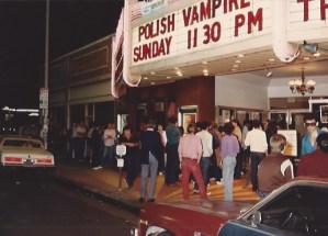 People in line outside the Nuart Theatre in West Los Angeles for the midnight premiere of Pirromount's A Polish Vampire in Burbank (1983)