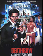 "Poster for Pirromount's 1987 comedy, ""Deathrow Gameshow"" with actor John McCafferty featured"