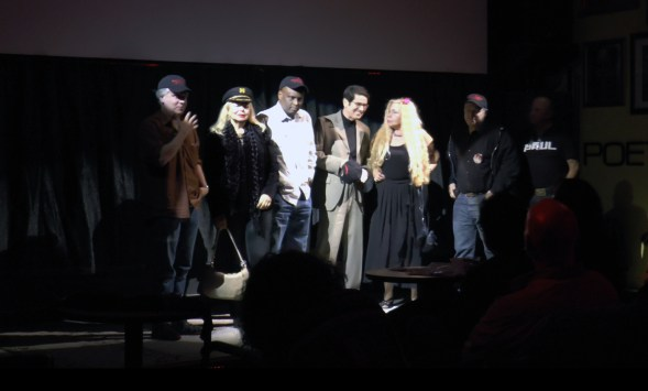The major stars of A Polish Vampire in Burbank are represented, from left to right Mark Pirro - Dupah, Marya Gant -Yvonne, Tyrone Dubose - Pimp, John McCafferty - Spy in Jacuzzi, Katina Garner - Barfly
