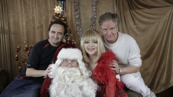 Cinematographer Bruce Heinsius, Richard Sebastian as Santa, Legendary comedienne Judy Tenuta, and Director Mark Pirro on set