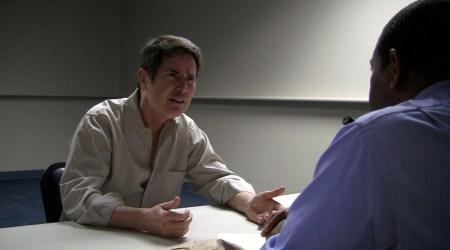 "Actor John McCafferty is being interviewed by Keeshan Giles in Mark Pirro's thriller ""Rage of Innocence."""