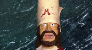 "Mohammad head made from the ""Submissive Jesus Prayer Answering Talking Head"" toy"