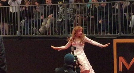 Stef Dawson entertaining the crowd at the Mockingjay part 2 premiere - November 2015