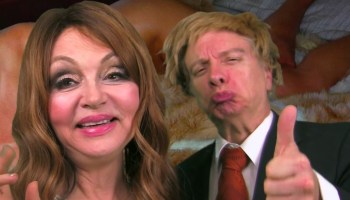 "Judy Tenuta and Mark Pirro in ""World Accordion to Judy"" video"