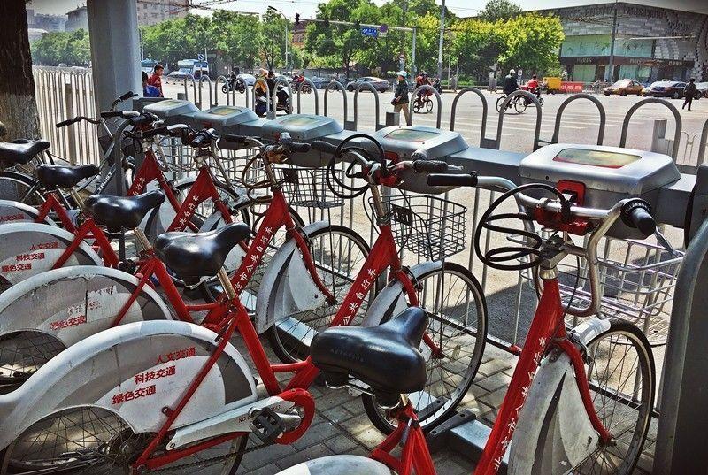 City bikes vistas en Beijing, China