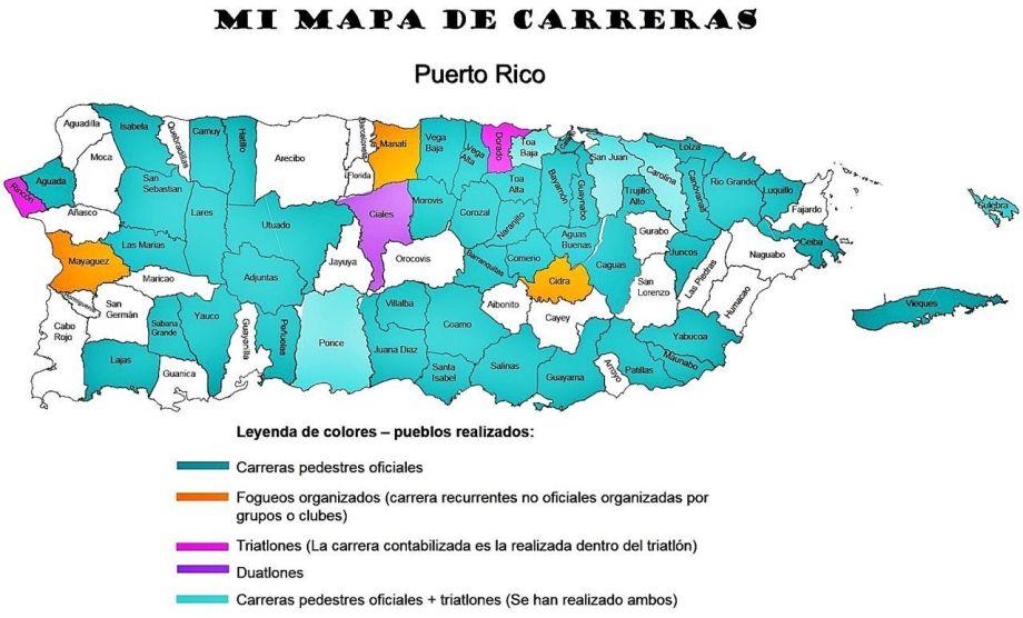 Mapa de Carreras pueblos de Puerto Rico
