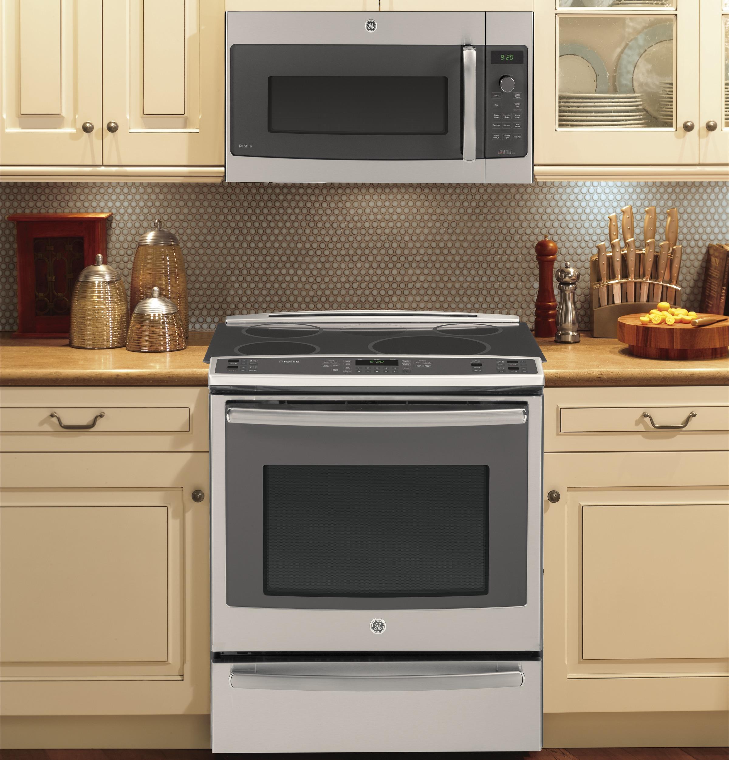 ge profile series advantium 120 1 7 cu ft over the range microwave stainless steel