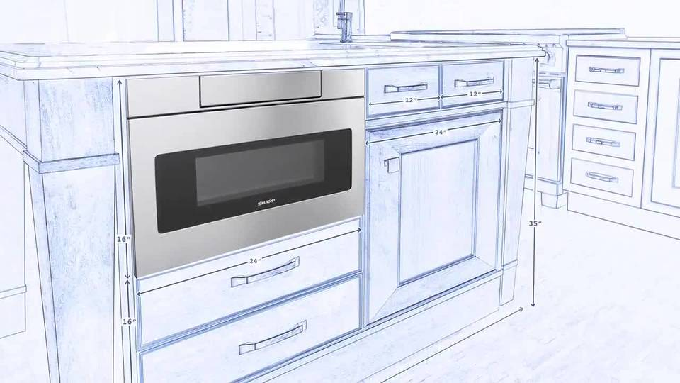 sharp 30 1 2 cu ft built in microwave drawer stainless steel