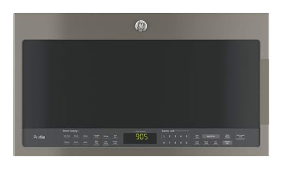 ge profile series 2 1 cu ft over the range microwave with sensor cooking slate