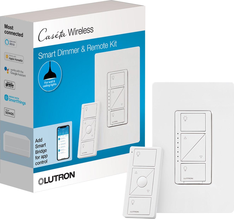 lutron caseta wireless single pole 3 way smart lighting lamp dimmer and remote kit p pkg1p wh r white