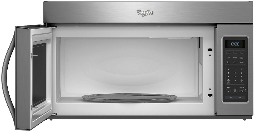 whirlpool 1 7 cu ft over the range microwave black stainless steel