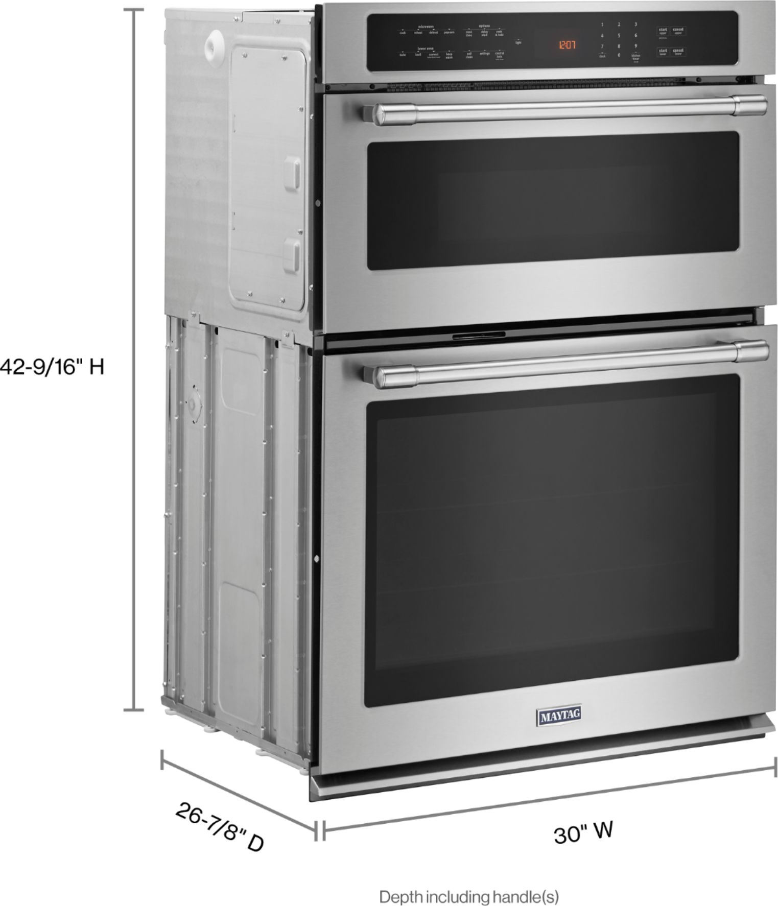 maytag 30 single electric convection wall oven with built in microwave stainless steel