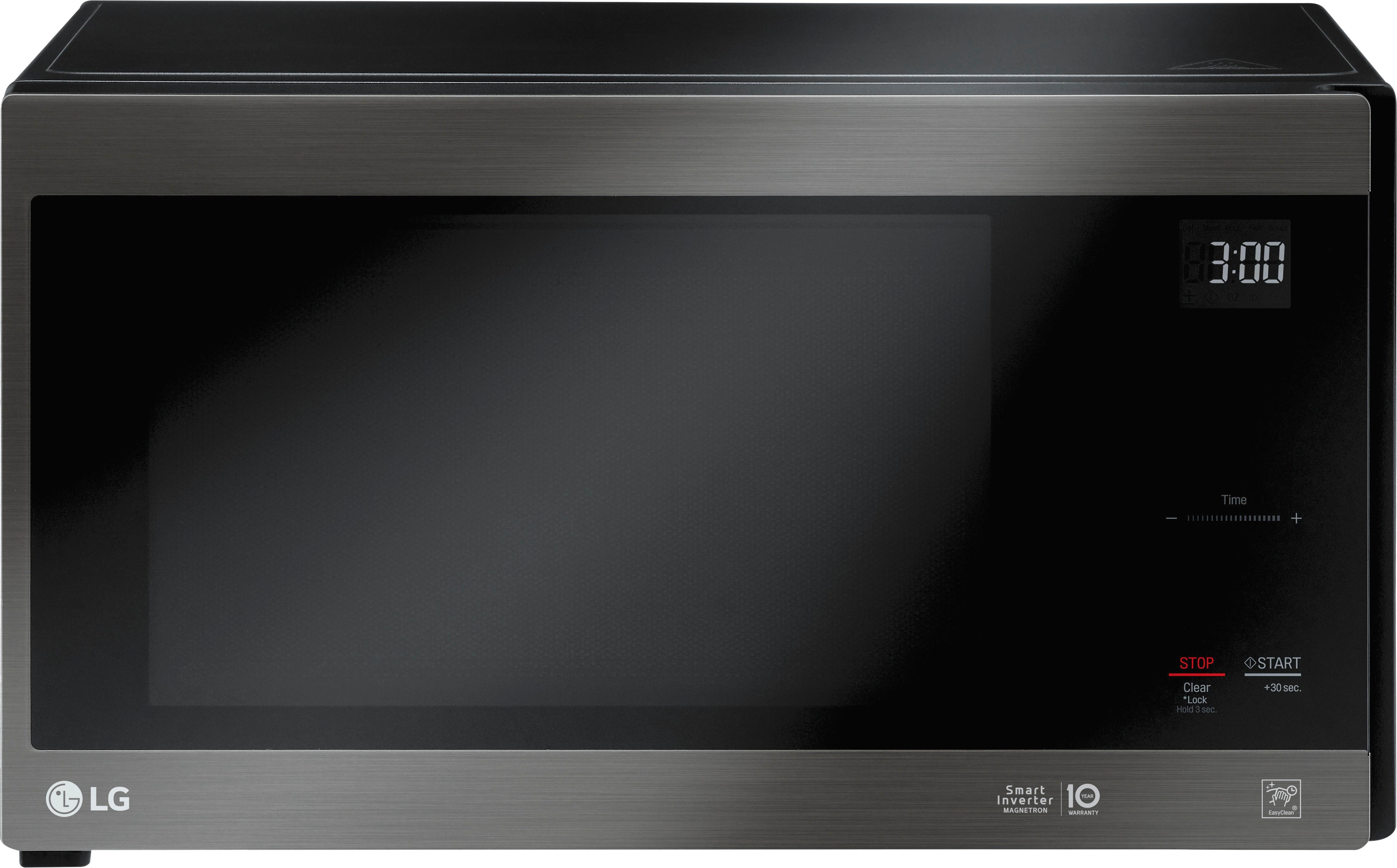 lg neochef 1 5 cu ft mid size microwave black stainless steel