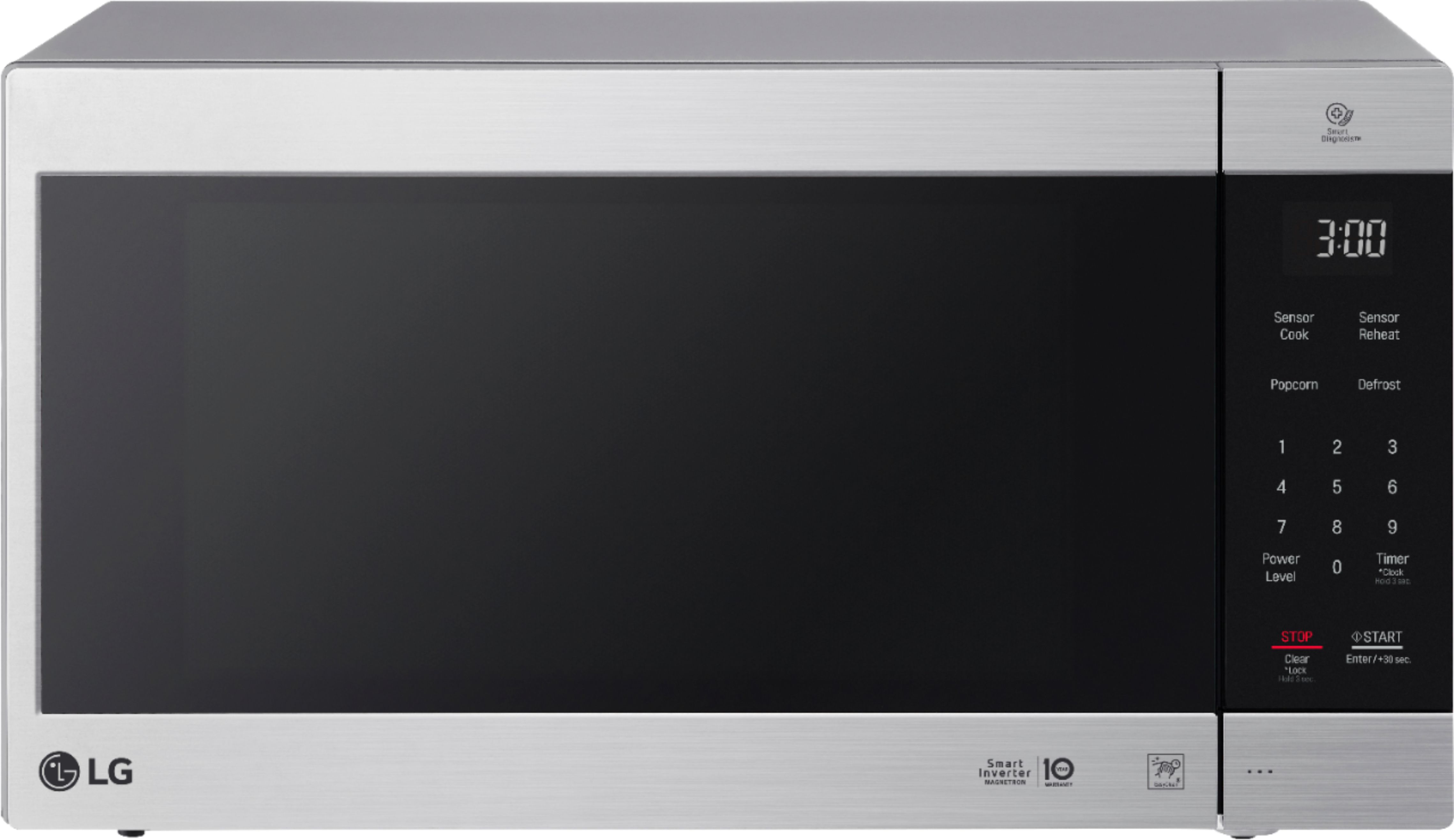 lg neochef 2 0 cu ft countertop microwave with smart inverter and easyclean stainless steel