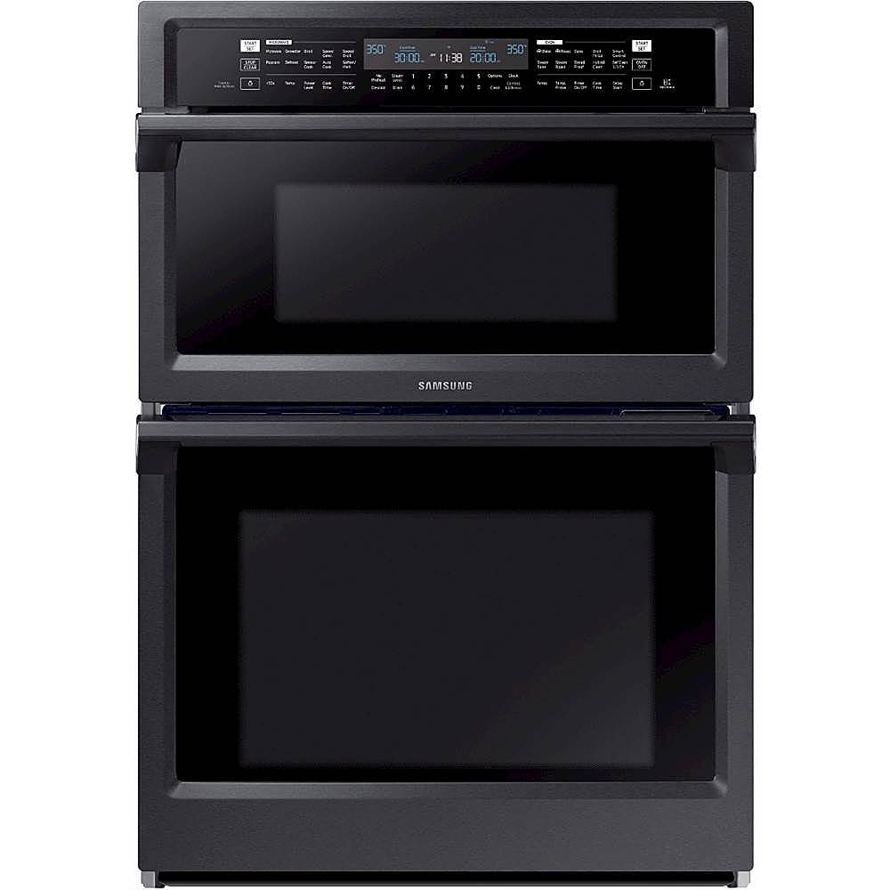 samsung 30 microwave combination wall oven with steam cook and wifi fingerprint resistant black stainless steel