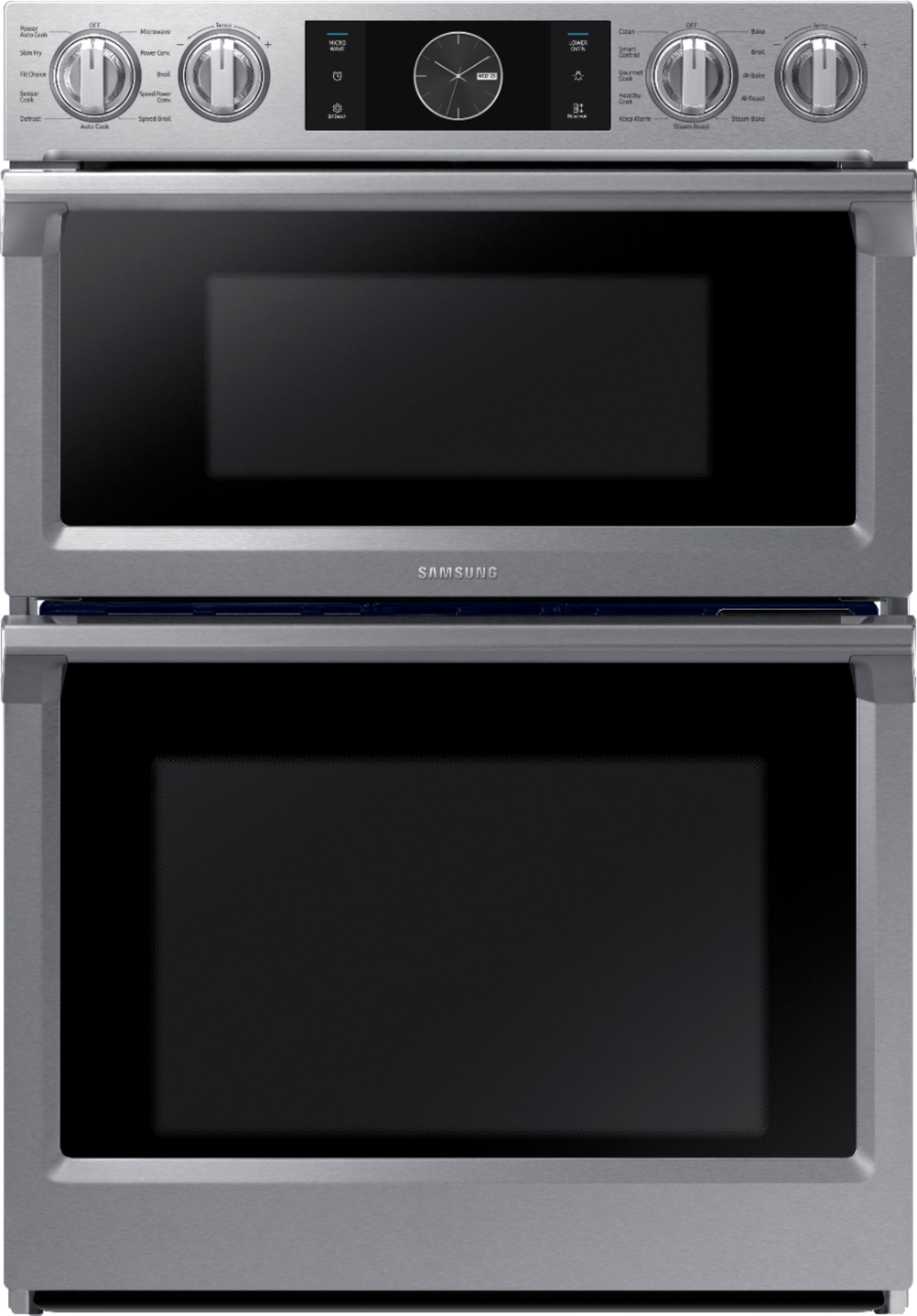samsung 30 microwave combination wall oven with flex duo steam cook and wifi stainless steel