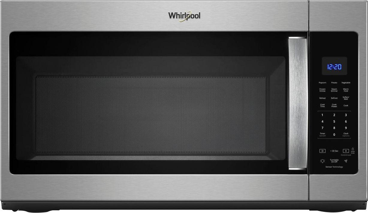 whirlpool 1 9 cu ft over the range fingerprint resistant microwave with sensor cooking stainless steel fingerprint resistant stainless steel