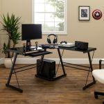 Walker Edison Modern L Shaped Tempered Glass Computer Desk Black D51b29 Best Buy