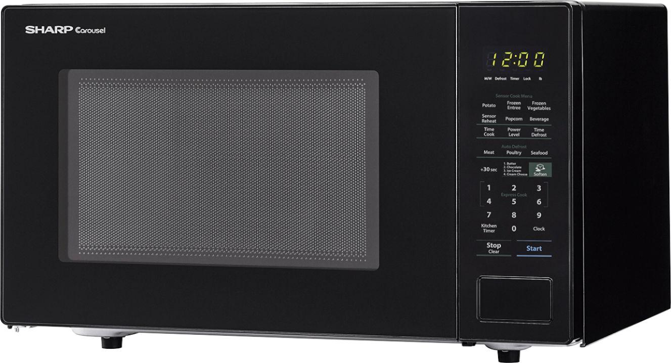 sharp carousel 1 4 cu ft microwave with sensor cooking black