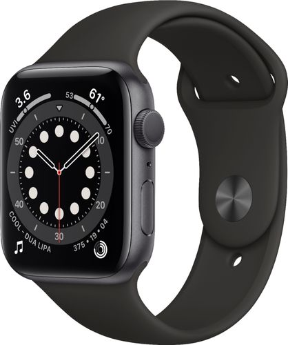 Apple Watch Series 6 (GPS) 44mm Space Gray Aluminum Case with Black Sport Band - Space Gray