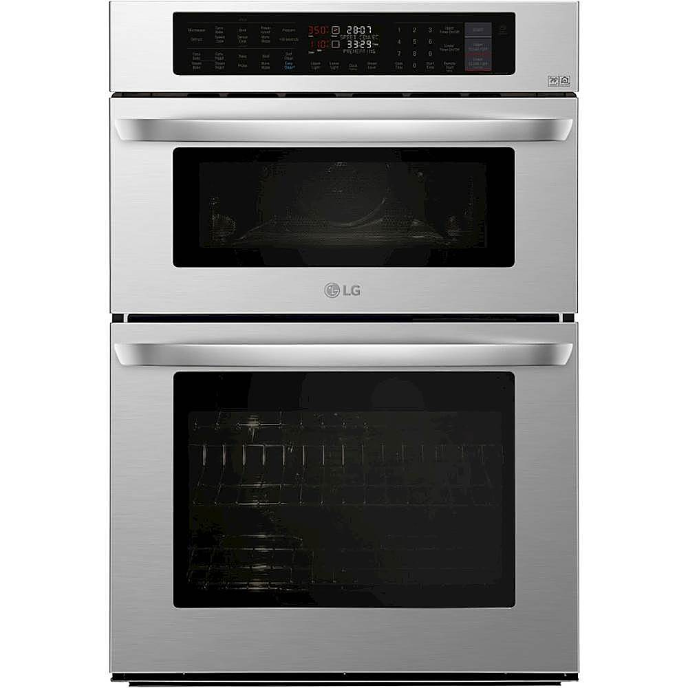 lg 30 combination double electric convection wall oven with built in microwave infrared heating and wifi stainless steel