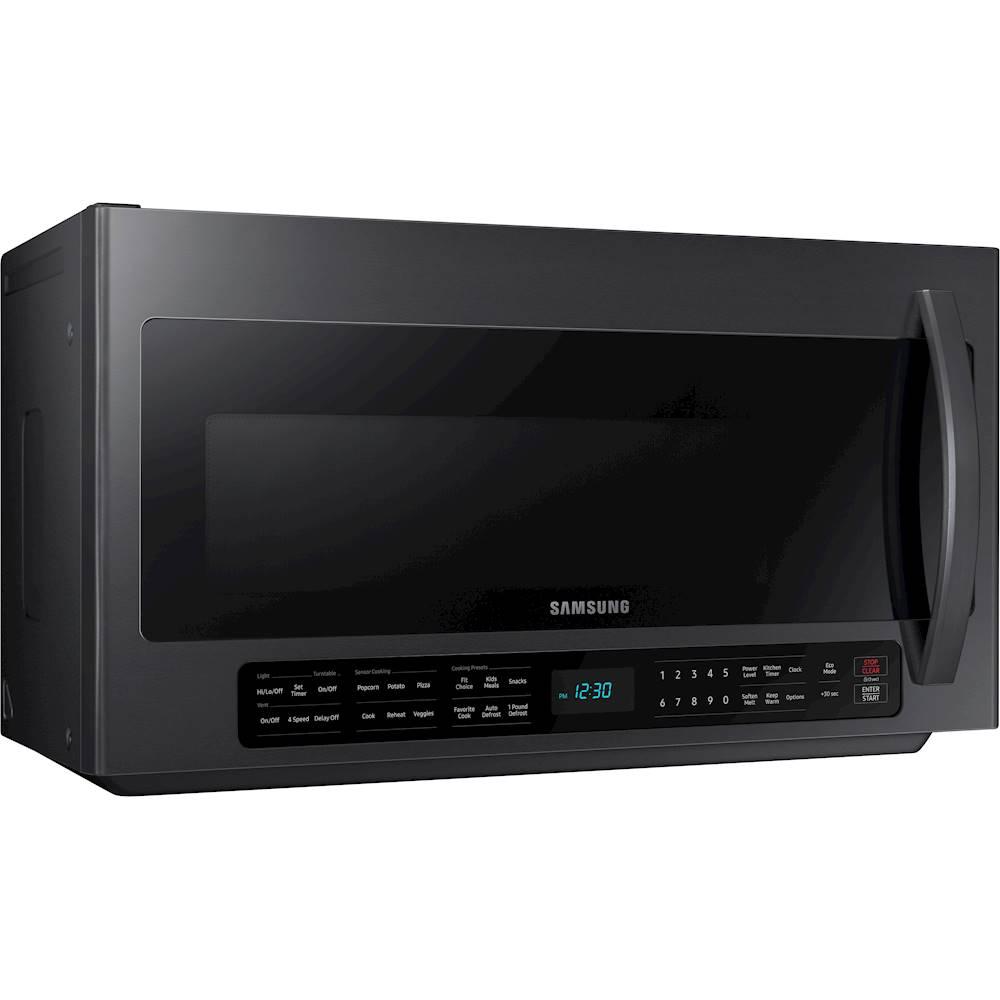 samsung 2 1 cu ft over the range microwave with sensor cook fingerprint resistant black stainless steel