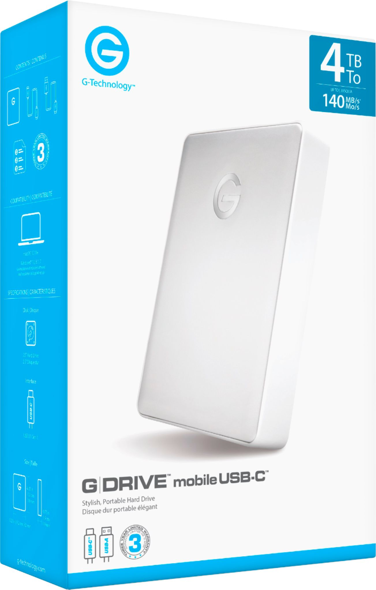 G-Technology G-Drive Mobile Usb-C 4Tb External Usb 3.1 Gen 1 Portable Hard Drive Silver 0G10348 - Best Buy