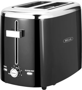 Zoom in on Angle Zoom. Bella - 2-Slice Extra-Wide/Self-Centering-Slot Toaster - Black With Stainless Steel Accents.