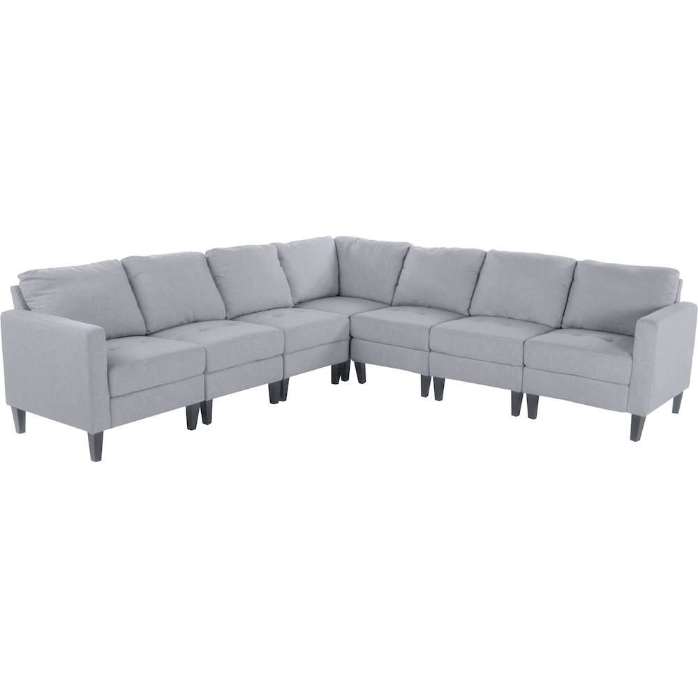 noble house gosport fabric 7 piece sectional sofa light gray