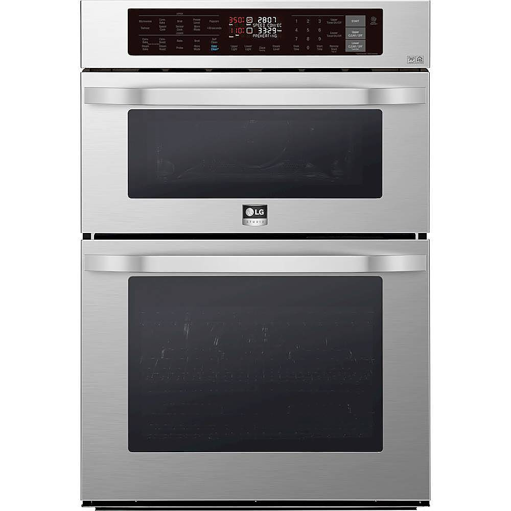 lg studio 30 combination double electric convection wall oven with built in microwave wifi and infrared heating stainless steel