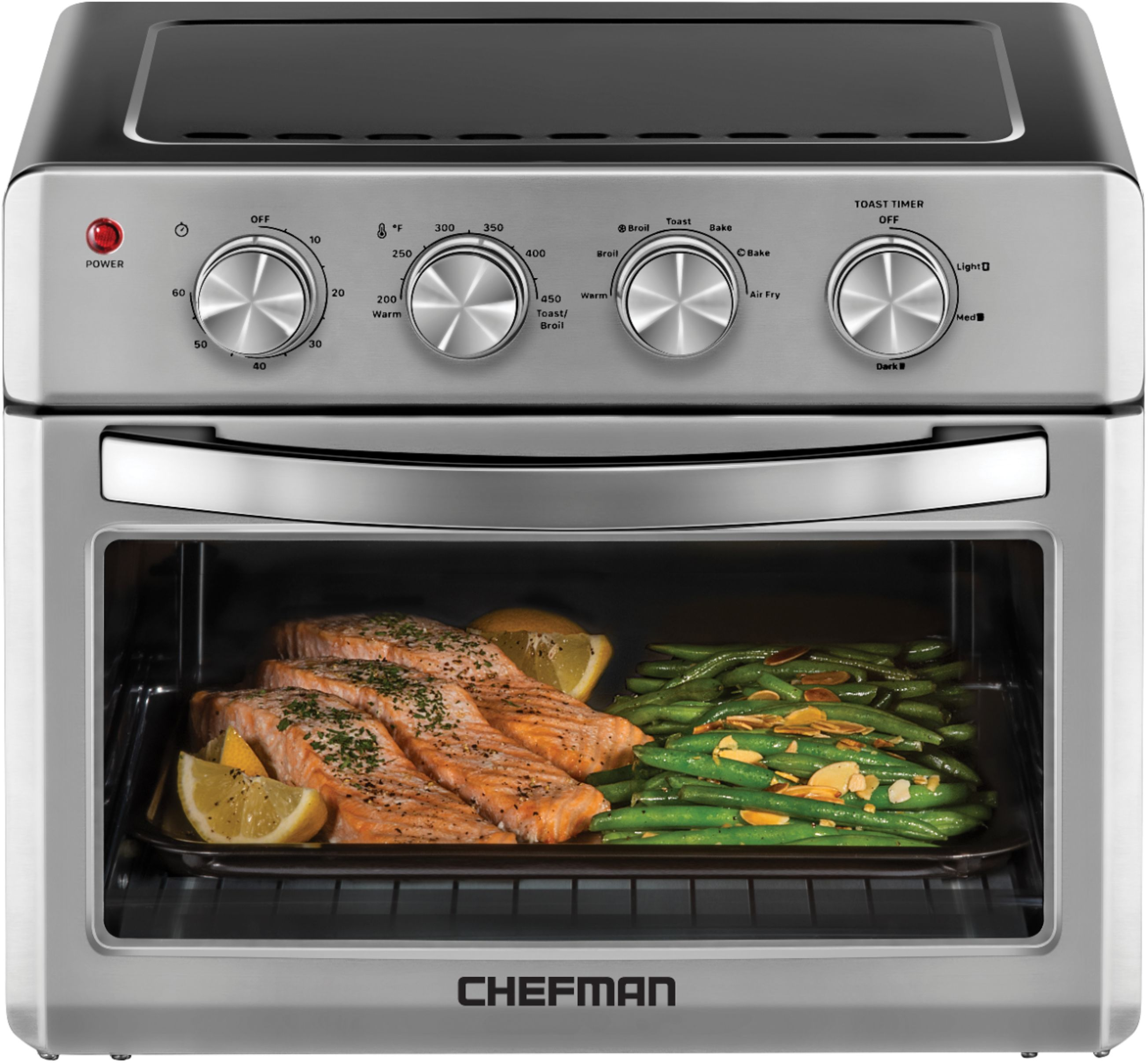 chefman 25 l analog air fryer toaster oven 6 slice convection w auto shut off 60 min timer stainless steel black stainless steel