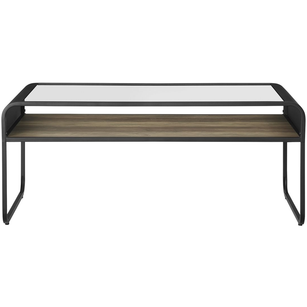walker edison reversible curved metal coffee table dark concrete reclaimed barnwood