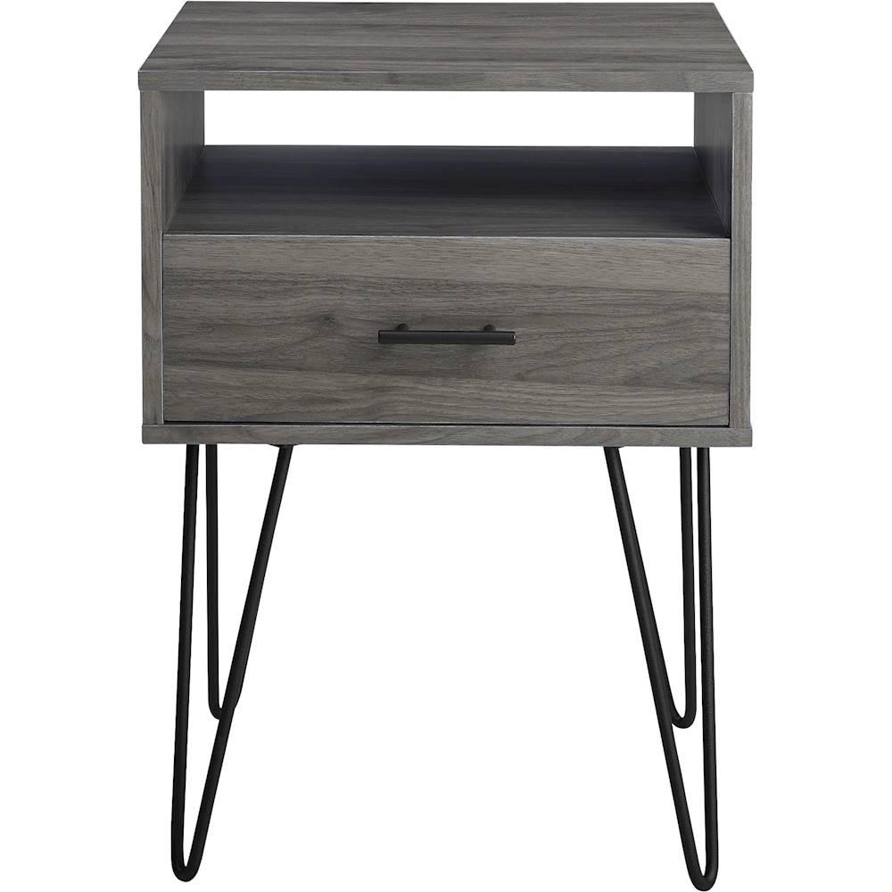 walker edison rectangular mid century modern high grade mdf 1 drawer side table slate gray