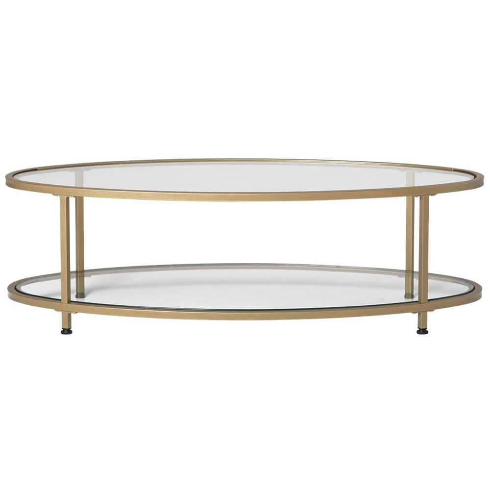 studio designs camber oval modern tempered glass coffee table clear
