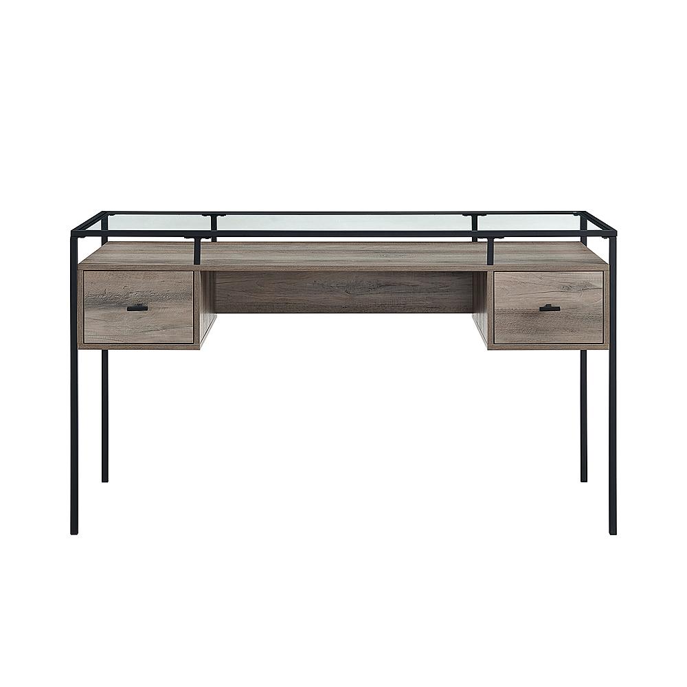 walker edison modern glass top 2 drawer computer desk gray wash