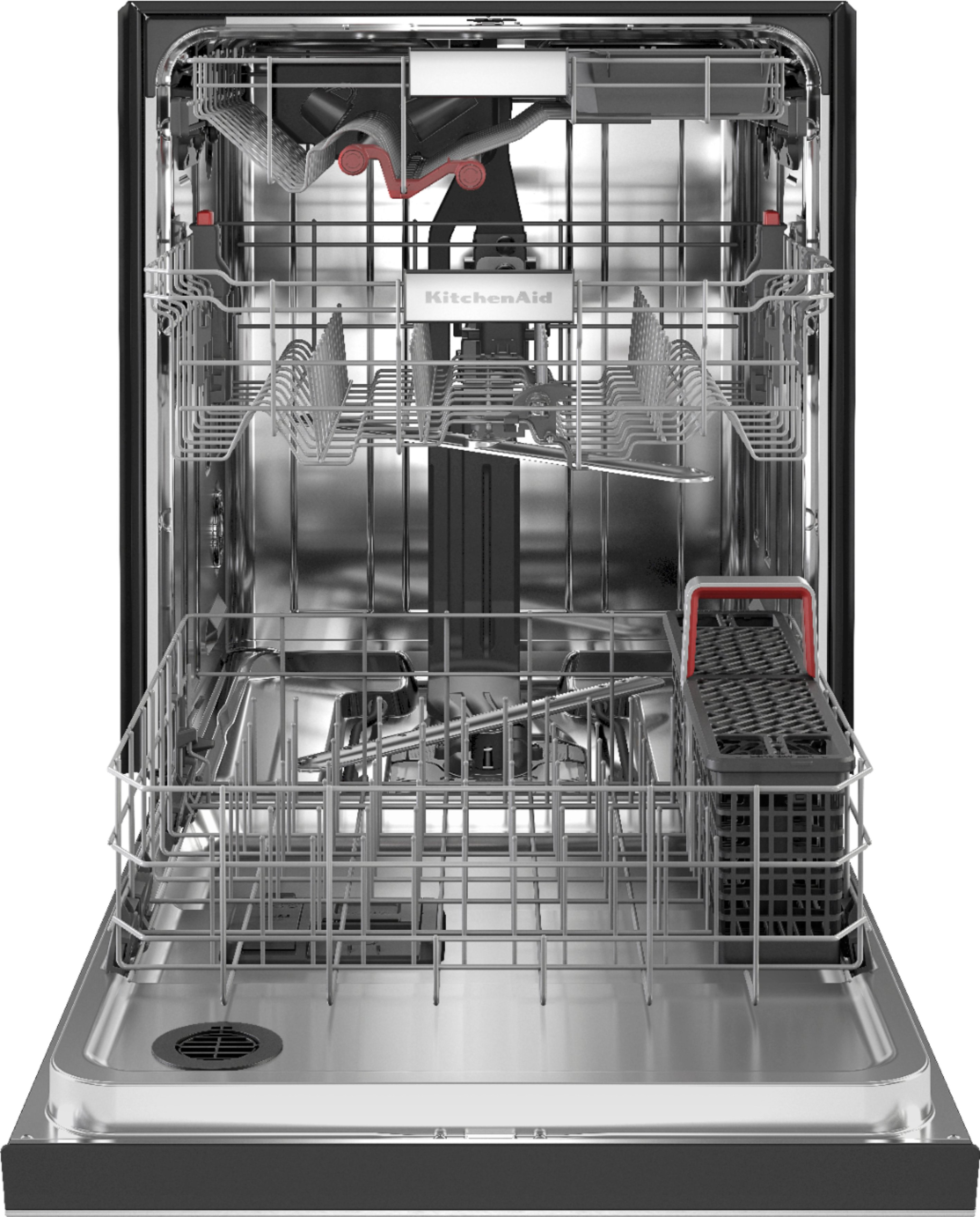 kitchenaid front control built in dishwasher with stainless steel tub freeflex third rack 44dba stainless steel with printshield finish
