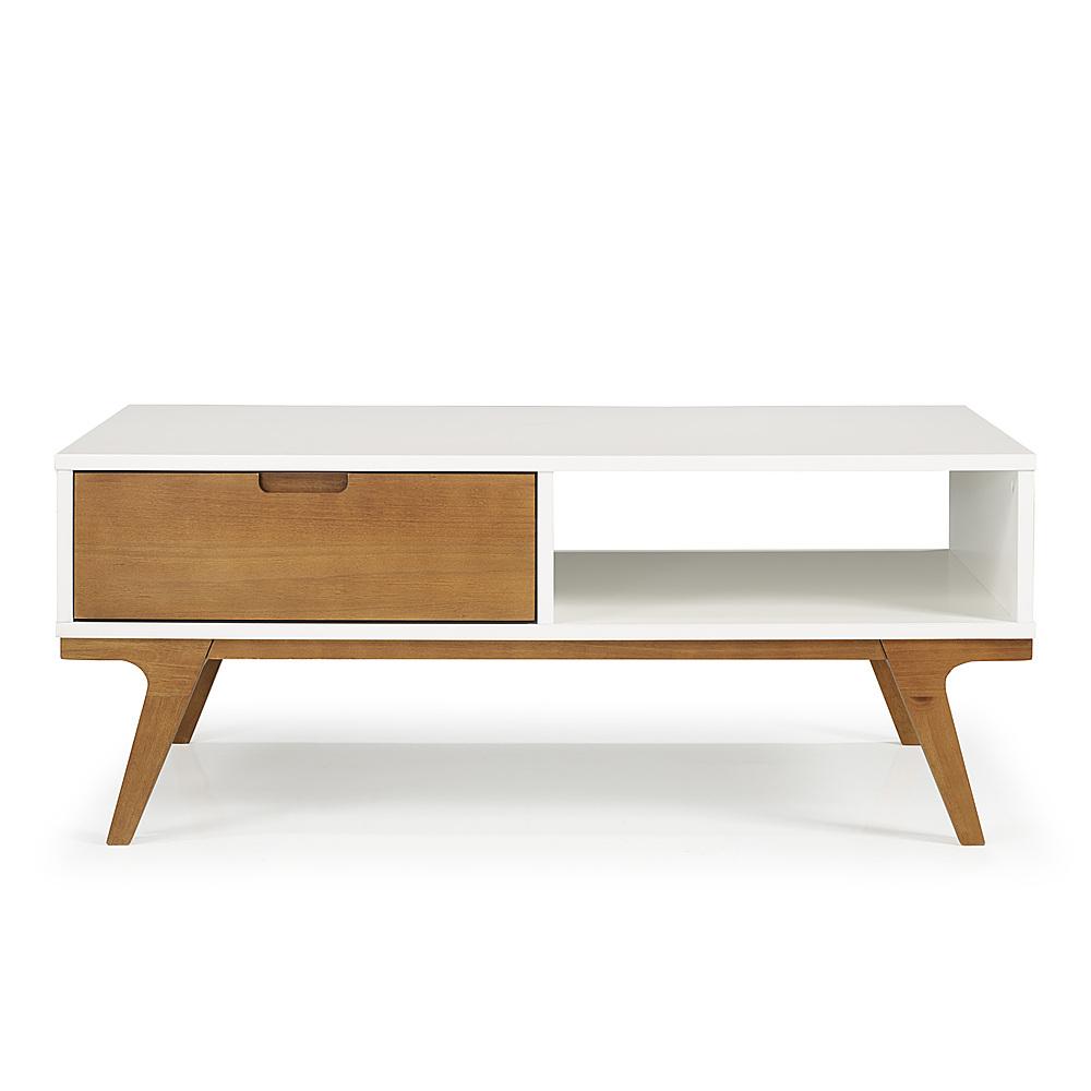 walker edison 1 drawer bridge leg solid wood coffee table white