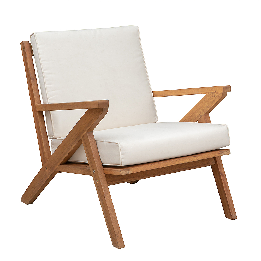 patio sense oslo wooden outdoor patio lounge chair brown 62969 best buy