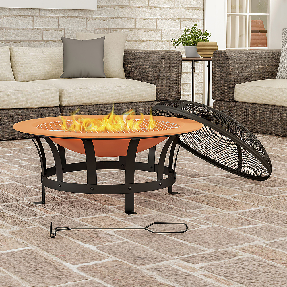 pure garden 30 outdoor deep fire pit round large copper colored steel bowl mesh spark screen log poker grilling grate copper and black