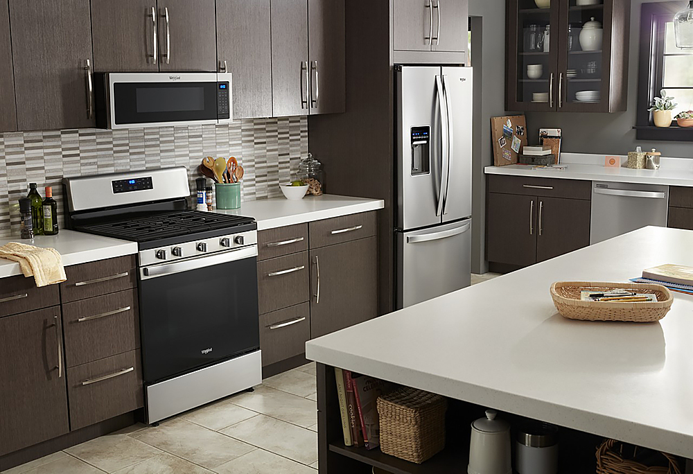 whirlpool 1 1 cu ft low profile over the range microwave hood with 2 speed vent stainless steel