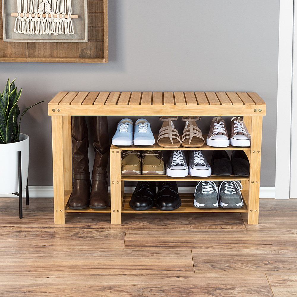 hastings home bamboo shoe and boot rack bench with 3 tiers natural wood seat storage and organization bamboo