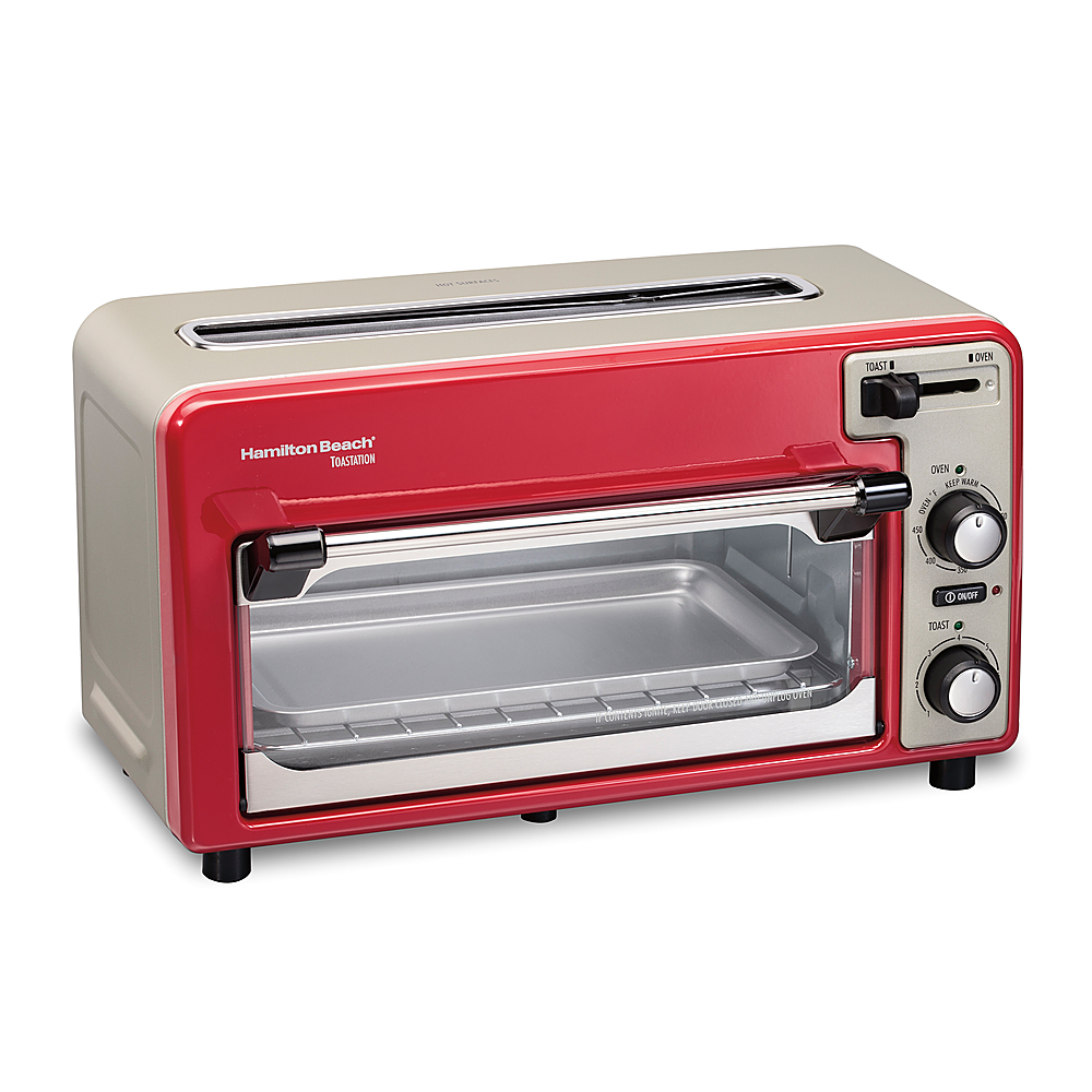 hamilton beach toastation 2 slice countertop toaster and toaster oven red 22724 best buy