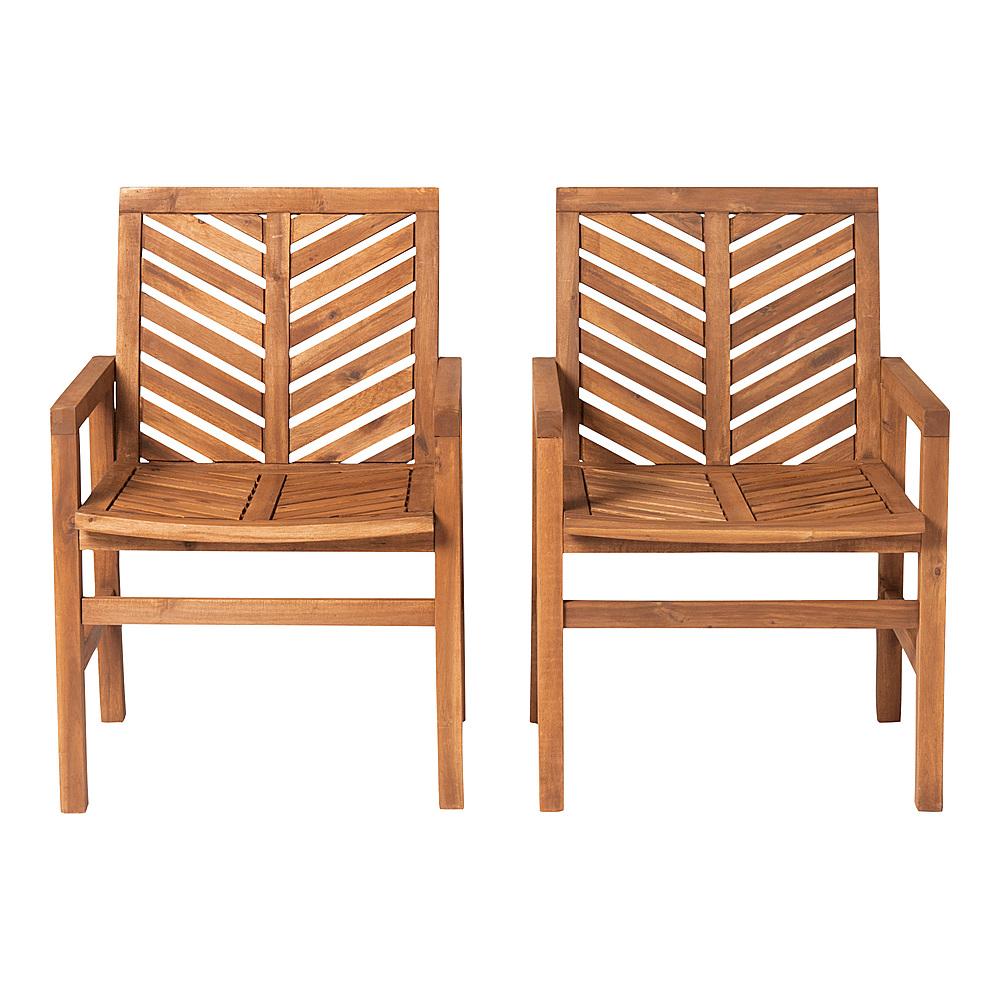 walker edison windsor acacia wood patio chairs set of 2 brown