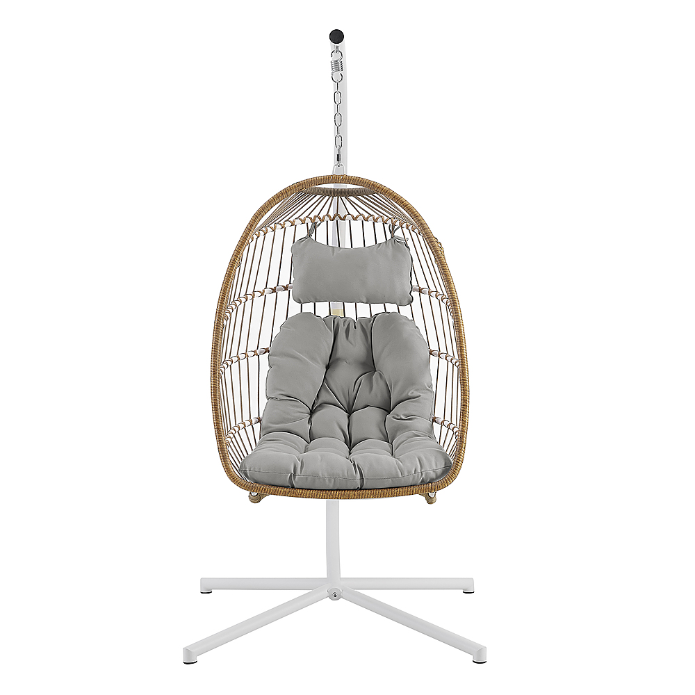 walker edison swinging wicker patio egg chair with cushion beige