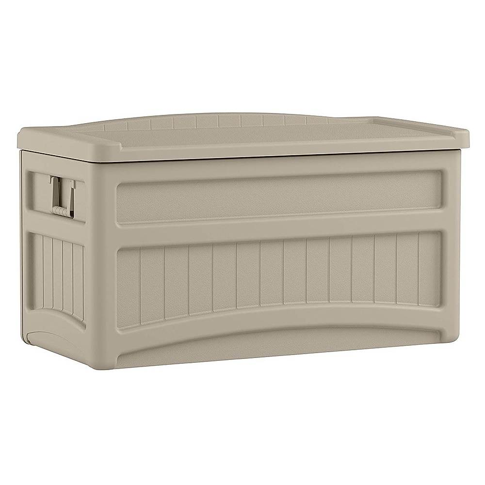 suncast resin outdoor patio storage deck box with seat taupe
