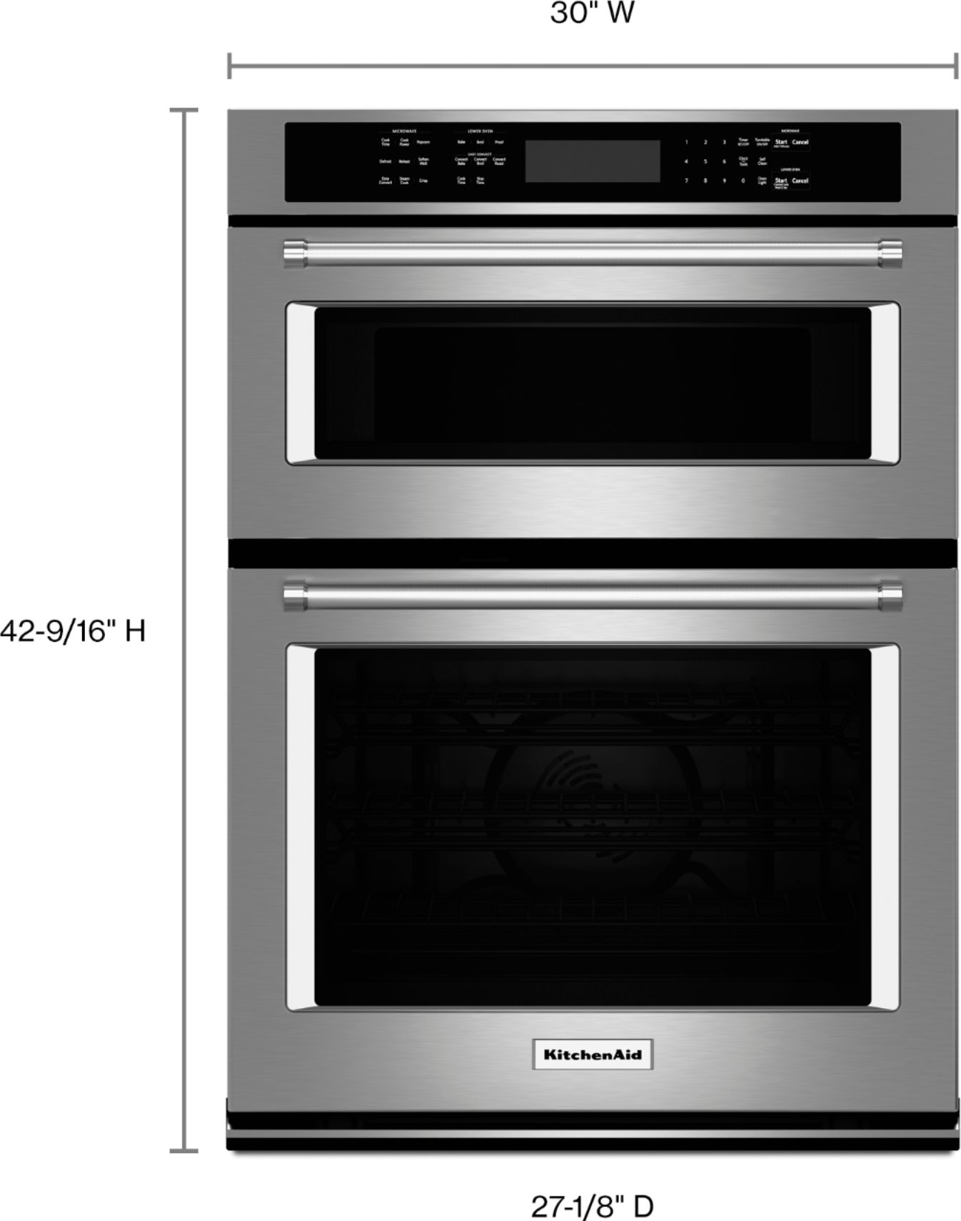 kitchenaid 30 single electric convection wall oven with built in microwave stainless steel